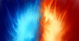 青いオーラと赤いオーラの衝突